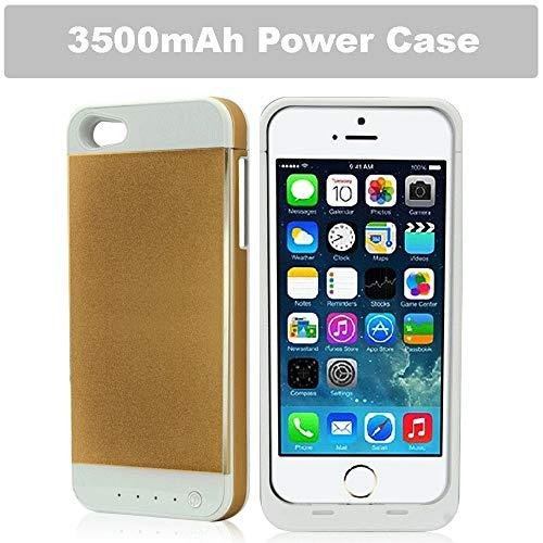 REALMAX® 3500mAh Powerbank-Tasche für iPhone 5 und iPhone 5S mit 4 LED-Power-Anzeige wiederaufladbar verlängert Akku-Gehäuse schlanke externe Backup-Ladegerät kompakte iPhone 5 & 5S Reiseladegerät Batterie Backup Case (Gold).
