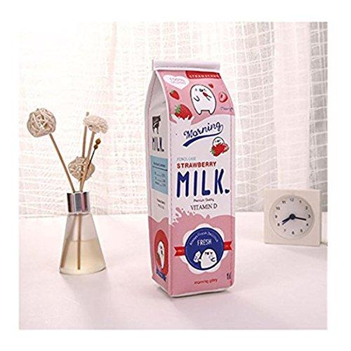 Cute Briefpapier Box Rosennie Niedlicher FedermäppchenKreative Karikatur Simulation Milch Bleistift Tasche Kinder Neuheit Artikel Portabel Milchkiste Mäppchen Kawaii Briefpapier Beutel (Pink)