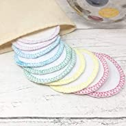Set of 10 Reusable Cotton Facial Rounds with Muslin Wash Bag