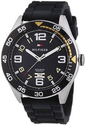 Tommy Hilfiger Cal - Reloj de cuarzo para hombre, con correa de plástico, color negro