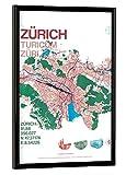 artboxONE Poster mit Rahmen 30x20 cm Stadtmotiv Zürich Karte von Künstler Tobias Brenner - Poster mit Kunststoffrahmen
