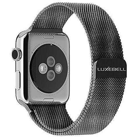 Luxebell® Apple Osservare la cinghia, 42 millimetri Milanese loop braccialetto dell'acciaio inossidabile della cinghia per Apple OsservareTutti i modelli con unico magnete di blocco (n Buckle Needed) (ML-nero-42