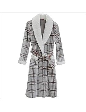DMMSS Le donne autunno e l'inverno camicie da notte imbottito plaid pigiama di flanella accappatoio Sleepwear...