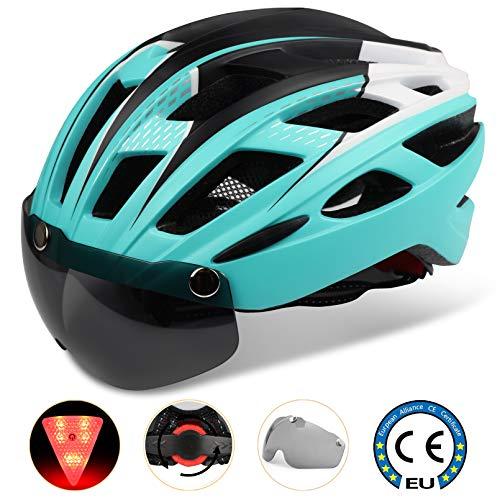 Casco Bici con Luce di LED,Certificato CE, Casco con Visiera Magnetica Staccabile Shield Casco da Bici Super Leggero Casco integralmente Adulto da Bicicletta Skateboarding Sci & Snowbo