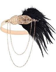 BABEYOND Frauen-schwarzes Feder-Stirnband 1920s Kopfstück-Weinlese-Haar-Zusätze bördelte Stirnband