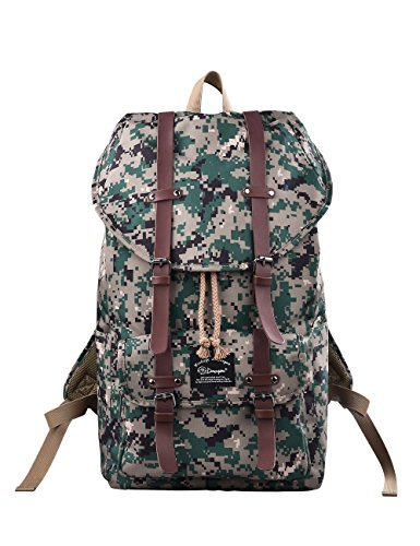 Douguyan Nylon Daypack Rucksack Computer 17 Zoll Wasserdicht Reiserucksack Wanderrucksack Sportrucksack Travel School Bag Backpack Student Damen Herren Männer Girls Boys Schule E00286 Camouflage