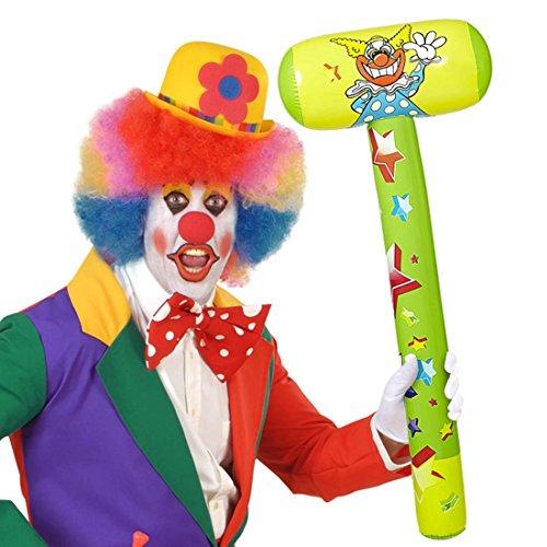 NET TOYS Aufblasbarer Clown Hammer Klöppel 96 cm Werkzeug aufblasbar Klopfer Fäustel Kostümzubehör Harlekin Narr Scherzartikel