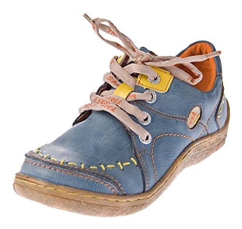 TMA Damen Leder Halb Schuhe Comfort Sneakers Blau Used Look Eyes 1646 Schnürer Turnschuhe Gr. 42