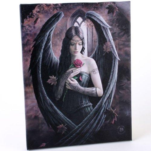 Fantastisches Anne Stokes Design – Angel Rose – Eine gotische Engel Fee hält eine rose – Leinwand Bild auf Bild-Wand-Plakette / Wand Kunst