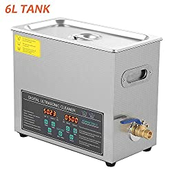 Ultrasonic Cleaner, Double-Frequency Digital Stainless Steel Ultrasonic Cleaning Machine with Heating Sstting and Adjustable Timer 0-90 Minutes for Jewellery Metal Parts Medical Dental Labs 6L 180W