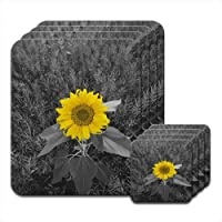 Fancy A Snuggle Bright Yellow Sunflower In Grey Fields Set of 4 Placemat & Coasters