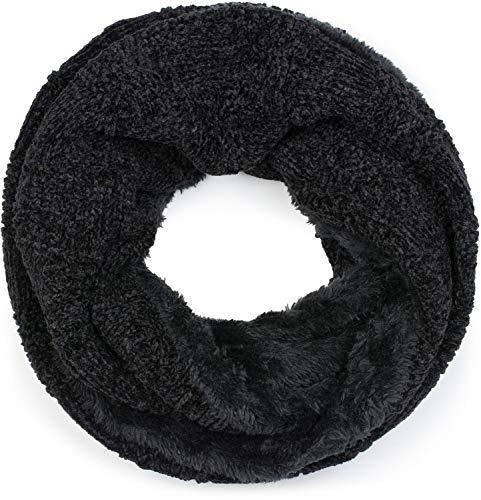 Stylebreaker sciarpa a tubo in ciniglia con motivo a quadri a scacchi e fodera in pile, sciarpa scaldacollo, unisex 01018158, colore:nero