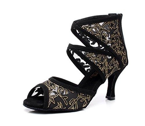 Minitoo QJ6181 femmes maille Mary Jane Chaussures de danse Satin écoles latine Noir
