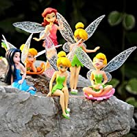 Wyi - Juego de 6 figuras de hadas en miniatura, mini accesorios de jardín de resina, decoración para el hogar, cumpleaños, decoración de tartas, decoración de jardín de hadas, regalos para niños