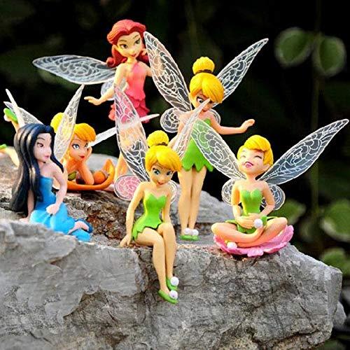 Kostüm Garten Feen - JK 6 Stück Miniatur-Blumen-Fairy Mädchen Tinkerbell Feen Kuchen-Dekoration Garten Landschaft Blumen Ornamente Cupcake Topper Dekoration für Kindergeburtstage