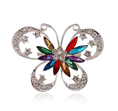 Hosaire 1X Fashion Elegant Diamond Butterfly Wedding Bridal Brooch Pin Rhinestone Covered Scarves Shawl Clip For women's Ladies Jewelry(Colorful)