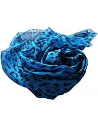 Prettystern - Bleu noir imprimé animal imprimé léopard écharpe de soie légèrement transparent - deux tailles