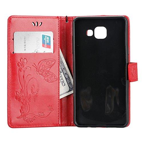 Custodia Samsung Galaxy A5 2016, ISAKEN Samsung Galaxy A5 Flip Cover, Galaxy A5 Custodia con Strap, Elegante borsa Colorate Albero Design in Pelle Sintetica Ecopelle PU Case Cover Protettiva Flip Port Farfalla: rossa