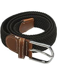SODIAL(R) Unisex Men Women Stretch Braided Elastic Leather Buckle Belt Waistband black