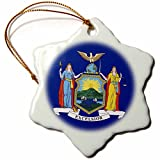 3dRose orn_57035_1 State Flag of New York Snowflake Decorative Hanging Ornament, Porcelain, 3-Inch