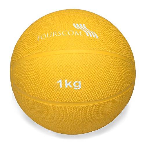 #FOURSCOM® Medizinball Fit ball Gymnastikball Gewichtsball Fitnessball Gelb 1Kg#