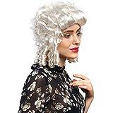 WIG ME UP ® - 91022-ZA68 ZA62 Peluca señoras Carnaval Barroco Renacimiento rizos blancos reina María Antonieta princesa