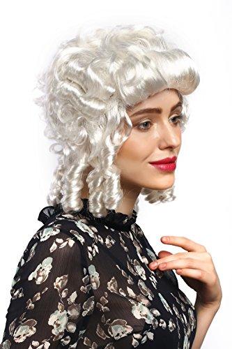 68-ZA62 Perücke Damen Karneval Fasching Barock Weiß Locken Königin Marie Antoinette Adlige Südstaaten Renaissance ()