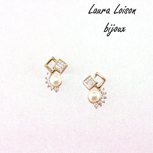 Laura Loison - Orecchini in argento 925 con perle e cubic zirconia