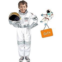 Tacobear Disfraz de Astronauta para Niños Disfrazarse de Juego de Roles para Niños Niños Niñas con Pin de Bandera de Gratis
