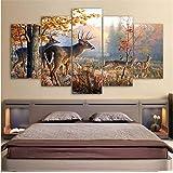 xwpox 5 muurschilderingen canvas schilderij muurkunst frame wooncultuur woonkamer foto's 5 stuks dier hert bos landschap poster Hd gedrukt creatieve muurschildering, canvas muurschildering, decoratie, zonder lijst