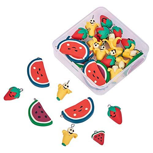 NBEADS 1 Box 30 Teile/schachtel Handgemachte Polymer Clay Anhänger Obst Thema Anhänger für Phone Straps Key Bag Charms oder Kinderspielzeug, Mischfarbe, 20~26x15~39,5x5~15mm, Loch: 2mm
