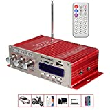 Amplificatore per Auto , MENGGOOD Mini Hi-Fi Amplificatori Stereo Bluetooth Digitale AMP Booster Audio Lettore Musicale con Telecomando Supporto FM MP3 SD USB DVD per Auto Barca Motociclo Casa [Rosso]