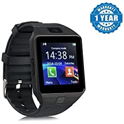 Captcha DZ09 Bluetooth Smartwatch With Camera & SIM Card Support for All Devices (Black)