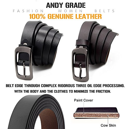 Andy Grade Set of 2 Women/'s Cowhide Leather Belt Ladies Vintage Casual Belts