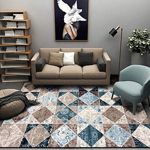 MU Home Wohnzimmer Eingang Nachttisch Teppich-Teppich Wohnzimmer Couchtisch Teppich/Schlafzimmer Teppich Geometrische Muster Handwäsche Einfacher Modestil Rechteckiger Teppich,Mehrfarbig,78 cm * 15 - Rechteckige Mehrfarbige Teppiche
