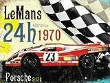 Le Mans 24h 1970 lauréat, Porsche en rouge. Allemand de course automobile, pour maison, domestique, bleu pétrole tête, chambre à coucher, pub ou bar. Métal/Panneau Mural Métalique - 30 x 40 cm