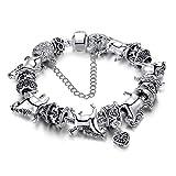 LLCOFFGA DIY Pferd Armband Perlen Kunst, 20cm Langes GroßEs Loch Perlen Armband, Legierung, Paar Geschenk