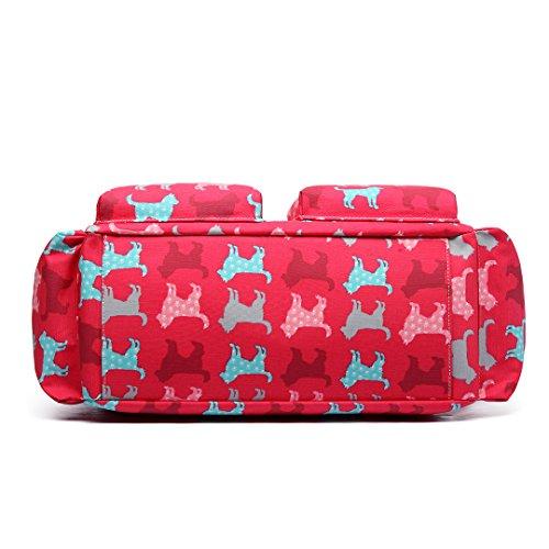 Miss Lulu 4PCS Baby Windel Windel Wickeltasche Set große Tragetasche Handtasche Schmetterling Blume Polka Dots Elefant Hund Katze Vogel Print New Dog Pink