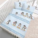 """'Flanella Baby biancheria da letto per bambini """"plitsch platsch Pinguino pinguini inverno divertimento in blu–100% cotone–dimensioni 40X 60+ 100x 135cm–Prodotto in Germania"""