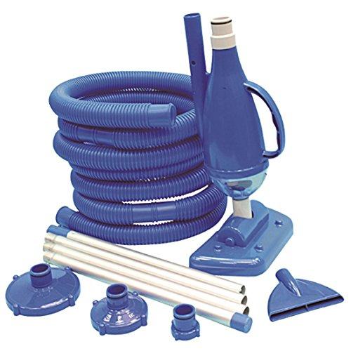 Jilong Pool-Reinigung Set VS Deluxe mit Vakkuum-Bodensauger inkl. 2 Aufsätze (Bürste + Flach) + Schmutzfangbehälter, Aluminium Poolstange und Poolschlauch inkl. Anschluß Adapter zur Poolpumpe