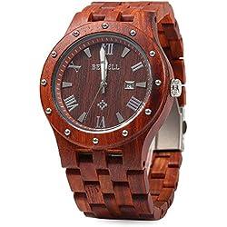 Bewell ZS - W109A Men Quartz Watch Round Dial Wooden Band Analog Wristwatch