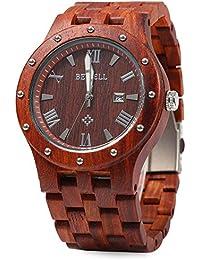 Bewell ZS - W109A Reloj de Madera para Hombre Movimiento de Cuarzo Luminoso Dial Redondo(Sándalo rojo)
