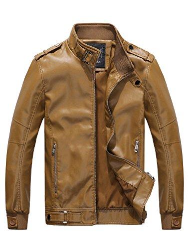 MatchLife Herren Lederjacke Zipper Bike Velvet Jacke Style5-Khaki