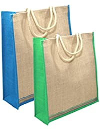2 Pack Different Size Jute Bag Multipurpose Grocery/ Shopping /gift Bag With Zip Closure - Assorted Colours