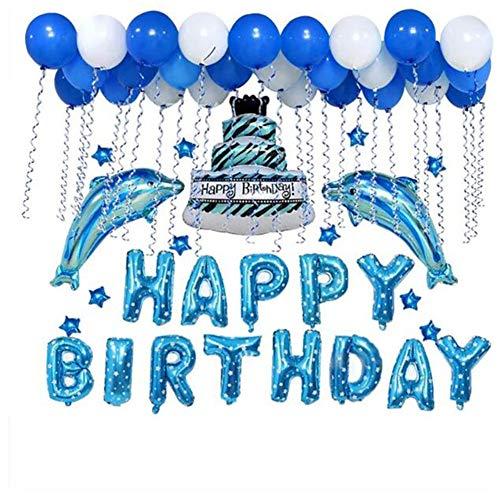 1 Set Party Geburtstag Ballon Happy Birthday Helium Folienballon Kuchen Buchstaben Delfine Form Aufblasbar Luftballon Runde Latexballons Baby Shower Party Dekoration Supplies Photobooth Requisiten Delfin-form