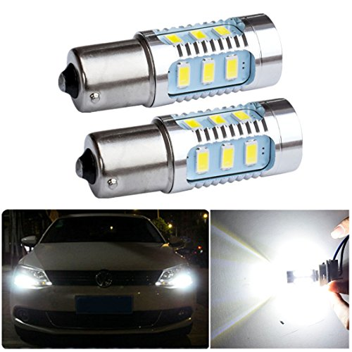 FEZZ Lampadine LED Auto S25 BA15S 1156 5630 15SMD 7.5W CANBUS DRL Luci diurne