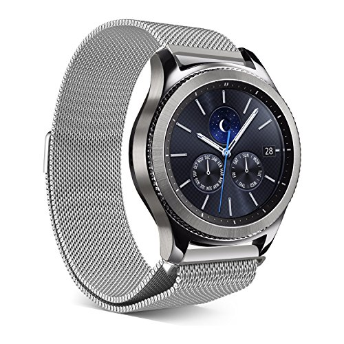 Galleria fotografica Elobeth per Samsung Galaxy Gear S3Classic/Frontier Smartwatch Band 22mm Cinturino in vera pelle di ricambio Cinturino da Polso Band per Samsung Gear S3Frontier/Classica