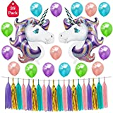Formemory 38Pcs Kinderparty Deko Folienballon Einhorn Luftballons,Papier Quasten Dekorationen,Kinder Geburtstag Unique Party Supplies,Baby Dusche Dekorationen