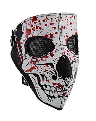Schneemobil Kostüm - Zeckos Gesichtsmaske, Totenschädel, Blutgespritzt, Weiß