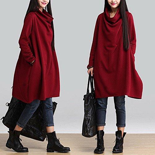 Smile YKK Robe tricoté Femme Pull Coton Col Roulé Manches Longues Automne Hiver Chaud Bordeaux